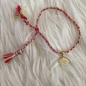 urban outfitters 24K Gold evil eye woven bracelet